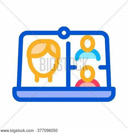 Video Conference Icon Vector. Video Conference Sign. Color Symbol Illustration