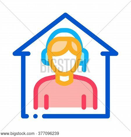 Home Call Assistance Icon Vector. Home Call Assistance Sign. Color Symbol Illustration