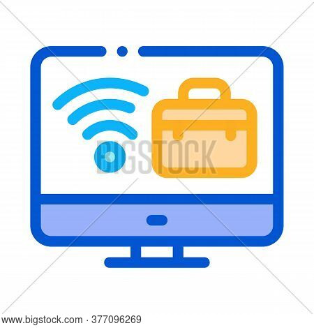 Wifi And Business Case On Computer Screen Icon Vector. Wifi And Business Case On Computer Screen Sig