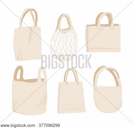 Beige Fabric Cloth Or Paper Bag. Bags With Recycling, Green Leaf And Eco. Replacement Plastic Bags.