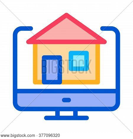 House On Computer Display Icon Vector. House On Computer Display Sign. Color Symbol Illustration