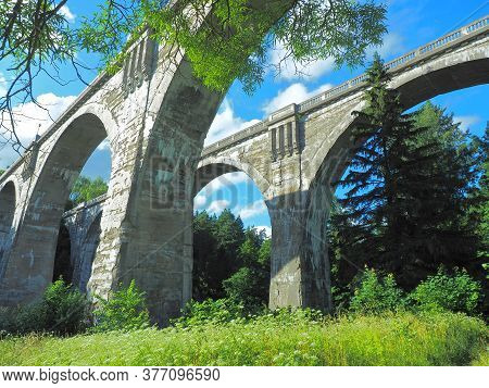 Aqueducts From History.  Stanczyki Village, Poland - July 12, 2020 Unique Railway Aqueducts In The V