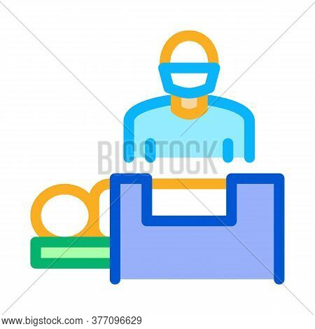 Surgeon Nad Patient On Surgical Table Icon Vector. Surgeon Nad Patient On Surgical Table Sign. Color