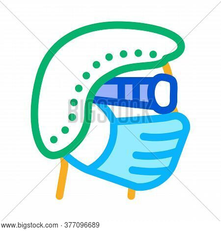 Surgeon Wearing Protection Hat Mask Glasses Icon Vector. Surgeon Wearing Protection Hat Mask Glasses