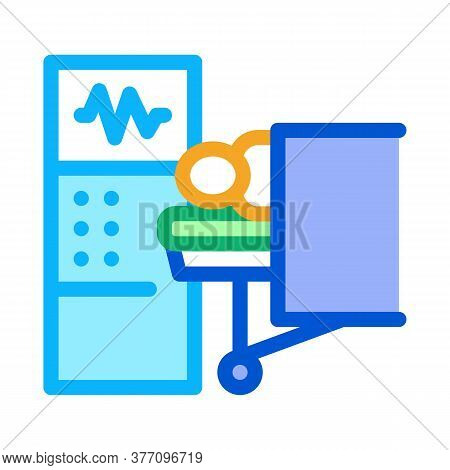 Patient And Surgeon Medical Equipment Icon Vector. Patient And Surgeon Medical Equipment Sign. Color