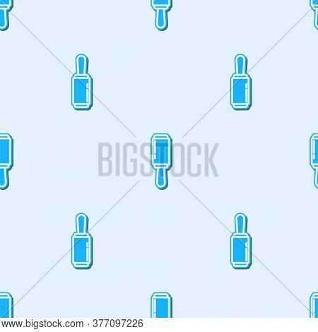 Blue Line Adhesive Roller For Cleaning Clothes Icon Isolated Seamless Pattern On Grey Background. Ge