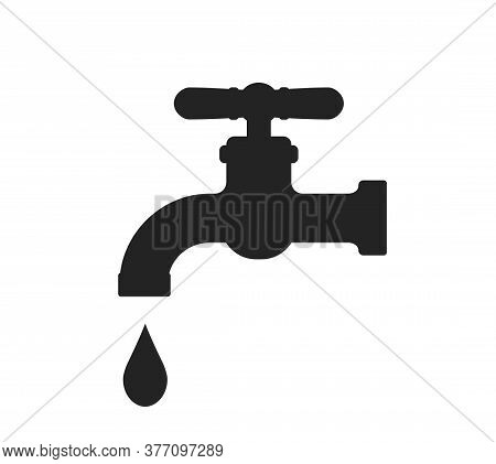 Water Faucet Icon. Isolated Vector Simple Style Plumbing And Household Design Element. Save Water Sy