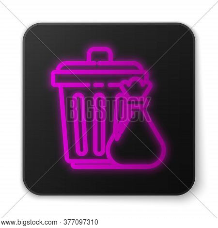 Glowing Neon Line Trash Can And Garbage Bag Icon Isolated On White Background. Garbage Bin Sign. Rec