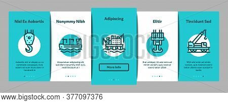 Crane Building Machine Onboarding Mobile App Page Screen Vector. Crane Port Construction For Unloadi