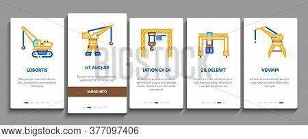 Crane Building Machine Onboarding Mobile App Page Screen Vector. Crane Port Construction For Unloadi