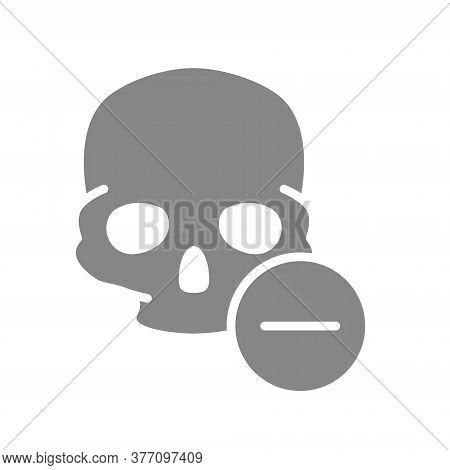 Skull With Minus Grey Icon. Bone Structure Of The Head, Cranium Symbol