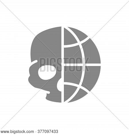 Human Skull With Planet Grey Icon. Day Of The Dead, Skull World Day Symbol