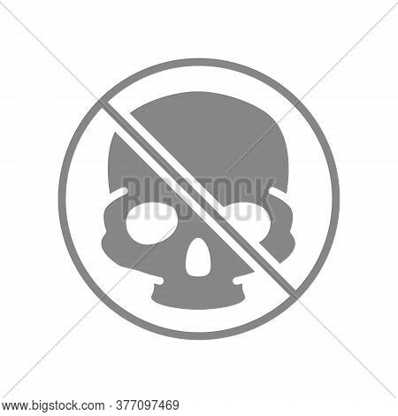 Forbidden Sign With A Human Skull Grey Icon. Transplantation, No Head Bones Symbol