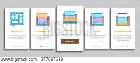 House Foundation Base Onboarding Mobile App Page Screen Vector. Concrete And Brick Building Foundati