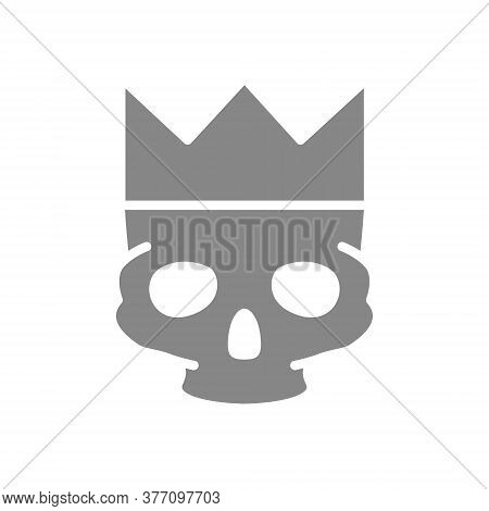 Human Skull With Crown Grey Icon. Tattoo Sketch, Cranium Symbol