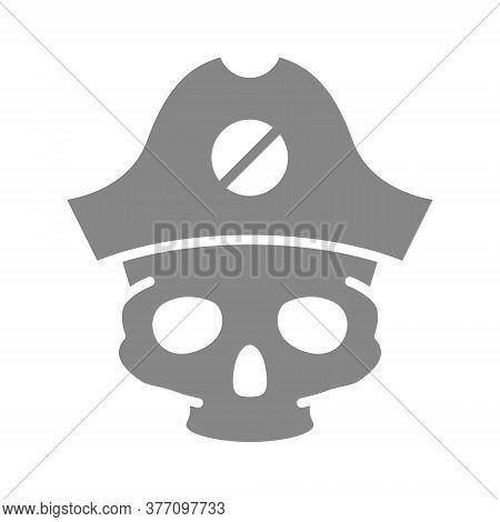 Skull With Pirate Captain Hat Grey Icon. Tattoo Sketch, Cranium Symbol