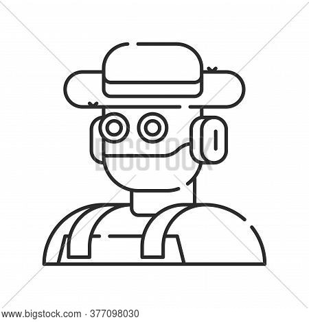 Futuristic Robot Farmer To Increase Efficiency. Agricultural Iot. Smart Farming Black Linear Icon. S