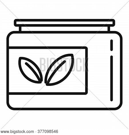 Leaf Eco Jar Icon. Outline Leaf Eco Jar Vector Icon For Web Design Isolated On White Background
