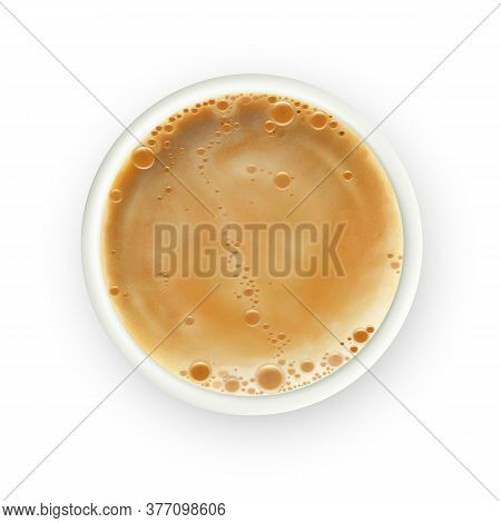 Coffee Cup Foamy Aroma Hot Drink Top View Vector. Boiled Coffee Beverage In Mug, Refreshment Traditi