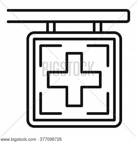 Pharmacy Cross Sign Icon. Outline Pharmacy Cross Sign Vector Icon For Web Design Isolated On White B