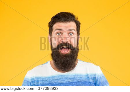 Good Mood. Smiling Face. Man Bearded Stylish Beard Yellow Background. Barber Tips. Beard And Mustach