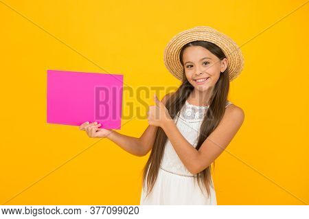 Little Child Advertises Beach Activity. Happy Childhood. Summer Holiday And Vacation. Kid Seasonal F