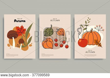 Colorful Autumn Illustrations In Vintage Style. Autumn Background Collection. Composition With Harve
