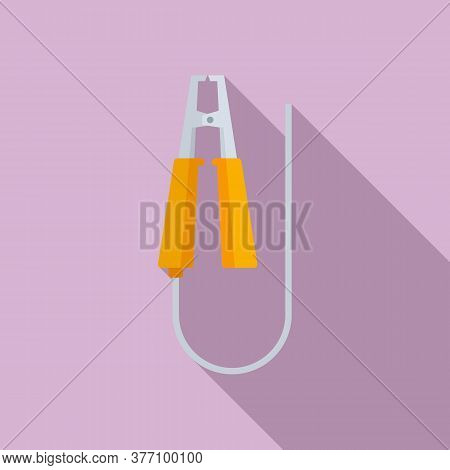 Electric Car Clamp Icon. Flat Illustration Of Electric Car Clamp Vector Icon For Web Design