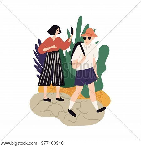 Couple Enjoying Nature At Summer Vacation Vector Flat Illustration. Tourist Woman Admiring Landscape