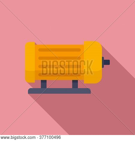 Industrial Electric Motor Icon. Flat Illustration Of Industrial Electric Motor Vector Icon For Web D