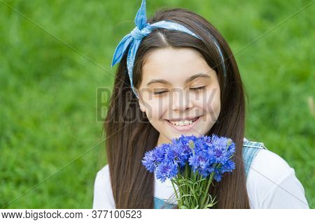 Cornflower Scented Present. Happy Girl Hold Flower Bunch Outdoors. Flowering Present. Floral Present