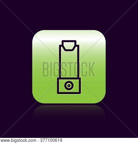 Black Line Inhaler Icon Isolated On Black Background. Breather For Cough Relief, Inhalation, Allergi