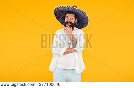 Having Fun On Mexican Party. Mature Bearded Hipster In Sombrero. Summer Holiday And Vacation. Happy