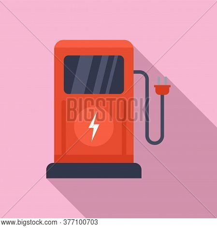 Charge Eletric Station Icon. Flat Illustration Of Charge Eletric Station Vector Icon For Web Design