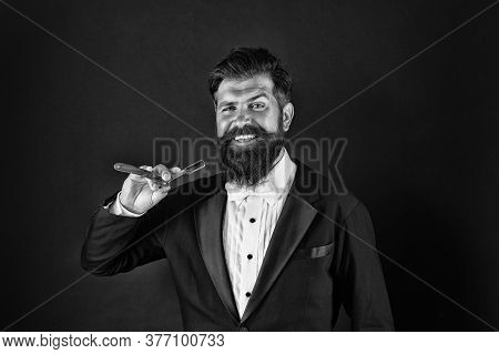 I Am Barber. Happy Barber Dark Background. Bearded Man Hold Classic Razor. Barber Ready To Shave Bea