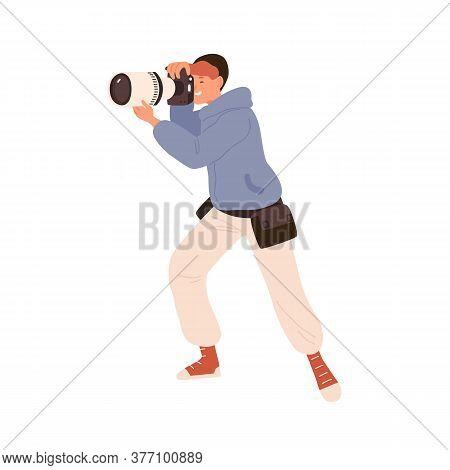 Male Professional Photographer Taking Photo Holding Camera Vector Flat Illustration. Man Photojourna