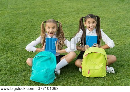 Group Study Outdoors Girls Classmates With Backpacks, Happy Students Concept.
