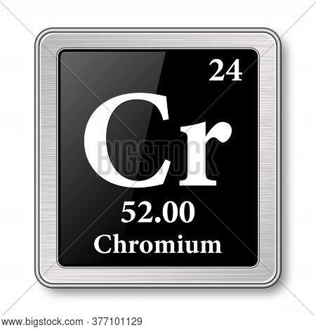Chromium Symbol.chemical Element Of The Periodic Table On A Glossy Black Background In A Silver Fram