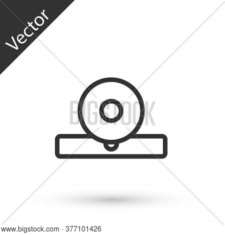 Grey Line Otolaryngological Head Reflector Icon Isolated On White Background. Equipment For Inspecti