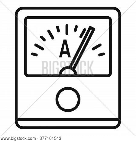 Ampere Meter Device Icon. Outline Ampere Meter Device Vector Icon For Web Design Isolated On White B