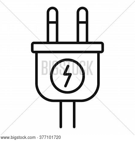 Car Electric Plug Icon. Outline Car Electric Plug Vector Icon For Web Design Isolated On White Backg