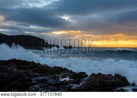 A Powerful Storm In The Atlantic Ocean In A Bay On The Coast Of Tenerife.
