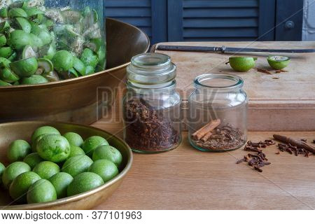 Step-by-step Recipe For Preparing Italian Liquor Nocino From Green Walnuts At Home, Real Home Kitche