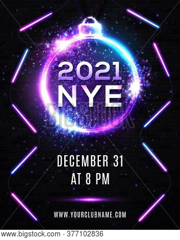2021 New Year Eve Party Celebration Poster Template Illustration With Neon Lights Line Bulb Number A