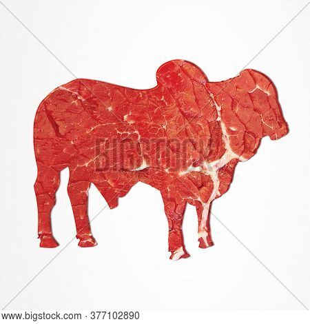 Cow Shaped Meat On Isolated Background, Muslim Holiday Eid Al-adha, Kurban Bayrami,meat Cuts, Fresh