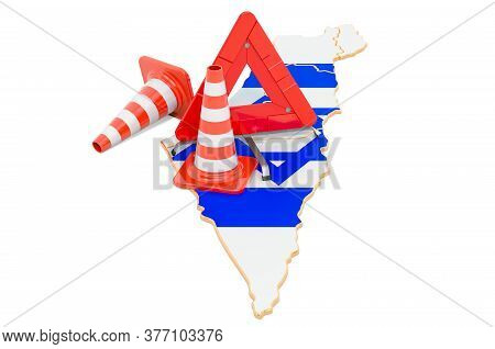 Israeli Map With Traffic Cones And Warning Triangle, 3d Rendering Isolated On White Background