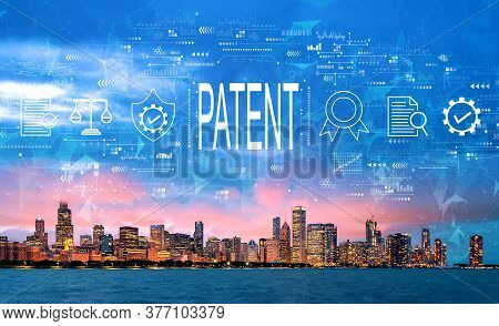 Patent Concept With Downtown Chicago Cityscape Skyline With Lake Michigan
