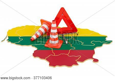 Lithuanian Map With Traffic Cones And Warning Triangle, 3d Rendering Isolated On White Background