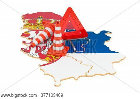 Serbian Map With Traffic Cones And Warning Triangle, 3d Rendering Isolated On White Background