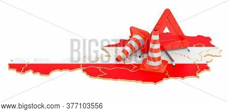 Austrian Map With Traffic Cones And Warning Triangle, 3d Rendering Isolated On White Background